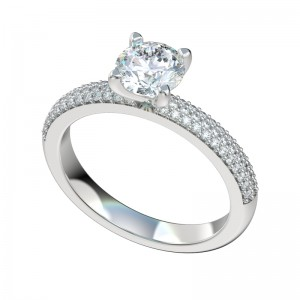 Three Row Micropave Engagement Ring - Platinum
