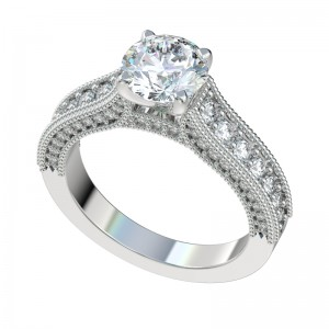 Three Sided Diamond Cathedral Engagement Ring - Platinum