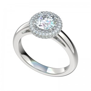 Micropave Double Row Halo Engagement Ring - Platinum