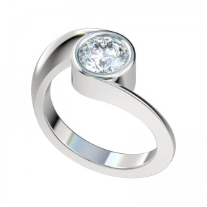Twist Bypass Bezel Engagement Ring - Platinum