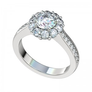Shared Prong Bead Bright Halo Engagement Ring - Platinum