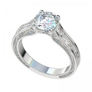 Faux Trellis Vintage Vines Solitaire Engagement Ring - Platinum