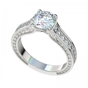 Faux Trellis Graduated Leaf Engagement Ring - Platinum