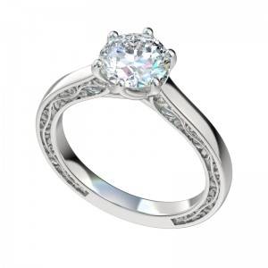 Vintage Vines Six Prong Solitaire Engagement Ring - Platinum