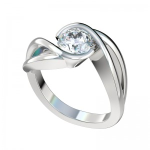 Split Bypass Half Bezel Engagement Ring - Platinum