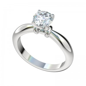 Sculptured Shoulder Tapered Solitaire Engagement Ring - Platinum