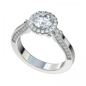 Antique Scroll Gallery Halo Engagement Ring - Platinum