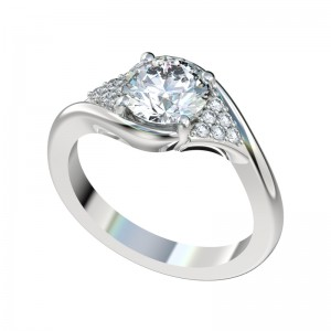 Triangle Pave Cluster Bypass Engagement Ring - Platinum