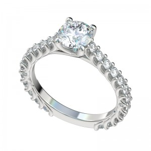 Reverse Trellis Cathedral Three Quarters Engagement Ring - Platinum
