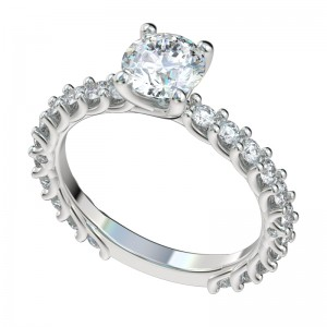 Shared Prong Reverse Trellis Three Quarters Engagement Ring - Platinum