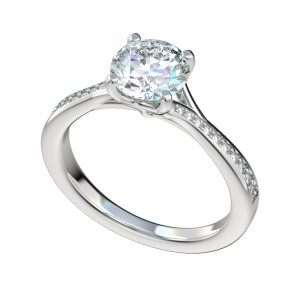 Delicate Split Bypass Cathedral Engagement Ring - Platinum