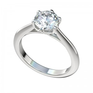 Six Prong Trellis Solitaire Engagement Ring - Platinum