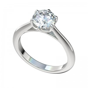Faux Trellis Six Prong Engagement Ring - Platinum