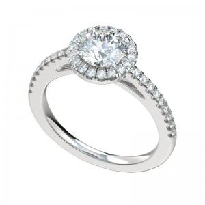 French V-Split Pave Halo Engagement Ring - Platinum Round