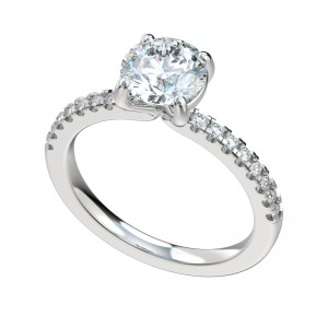 Faux Trellis Four Prong Engagement Ring - Platinum