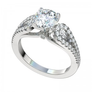 Split Shank Pear Sides Engagement Ring - Platinum