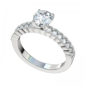Shared Prong Milgrain Bezel Engagement Ring - Platinum