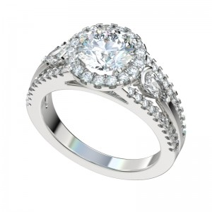 Split Shank Pear Sides Halo Engagement Ring - Platinum