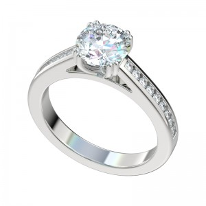 Double Prong Channel Set Cathedral Engagement Ring - Platinum