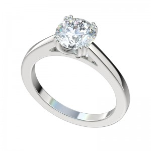 Double Prong Solitaire Engagement Ring - Platinum