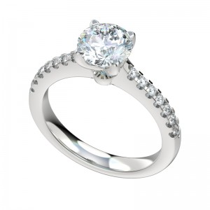 Split Prong Scalloped Cathedral Engagement Ring - Platinum