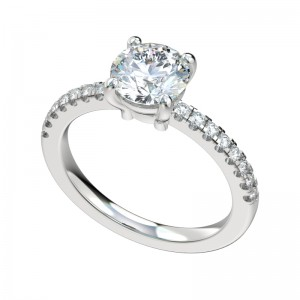 Split Prong Scalloped Basket Engagement Ring - Platinum