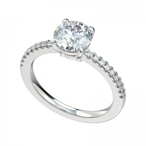Delicate Split Prong Scalloped Basket Engagement Ring - Platinum