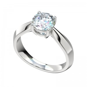 Knife Edge Bow Solitaire Engagement Ring - Platinum