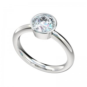 Full Bezel Solitaire Engagement Ring - Platinum