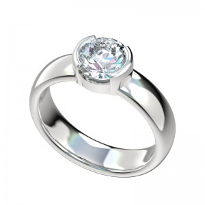 Half Bezel Wide Engagement Ring - Platinum