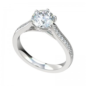 Six Prong Trellis Bead Bright Engagement Ring - Platinum