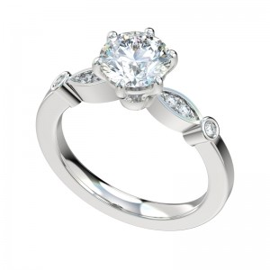 Six Prong Bead Bright Bezel Engagement Ring - Platinum
