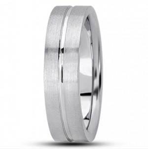 Pipe Cut Single Groove Wedding Ring - 6MM