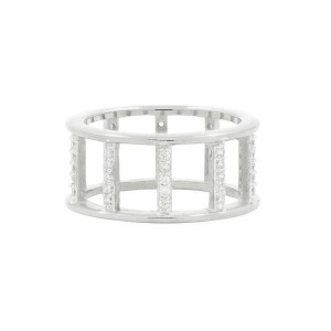 RADIANCE OPEN WIDE BAND RING IN SILVER