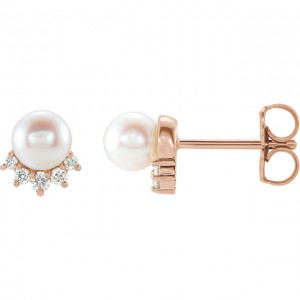 Diamond and Pearl Petite Studs Rose