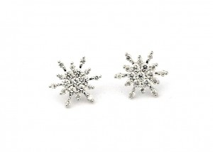 Diamond Snowflake Stud Earrings - 14k White Gold