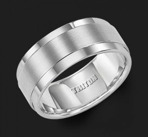 9MM Triton Step Edge Wedding Band - Perspective
