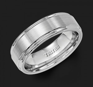 7MM Triton Tungsten Step Edge Wedding Band - Perspective