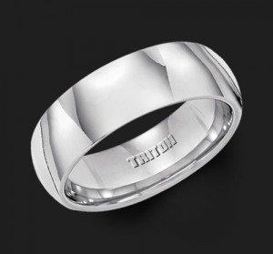 7MM Triton White Tungsten Half Round Wedding Band - Perspective