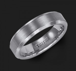 6MM Triton Gray Tungsten Beveled Edge Wedding Band - Perspective
