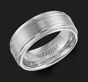 9MM Triton White Tungsten Step Groove Wedding Band - Perspective