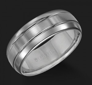 8MM Triton Gray Tungsten Double Groove Wedding Band