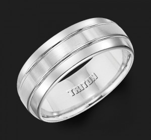 8MM Triton White Tungsten Double Groove Wedding Band - Perspective