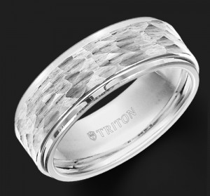 8MM Triton White Tungsten Hammered Wedding Band - Perspective