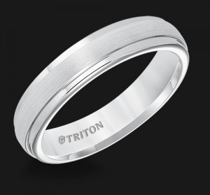5MM Triton White Tungsten Step Edge Wedding Band - Perspective