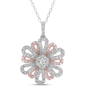 Rose Gold Floral Diamond Pendant