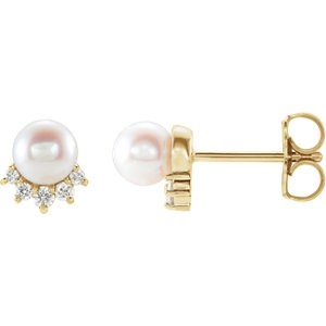 Diamond and Pearl Petite Studs Yellow