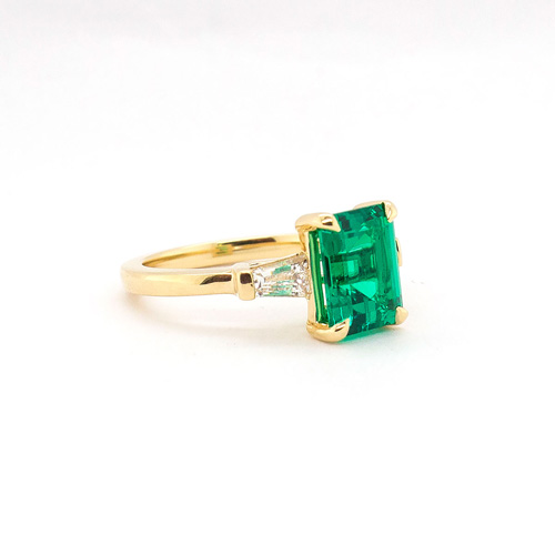 Emerald Yellow Gold 3 Stone Engagement Ring